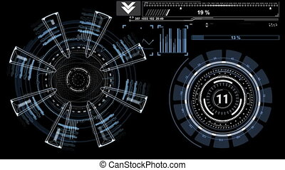 Beautiful Futuristic HUD. Composition with Round Elements and Bars. Head-up Display Computer Data. High Tech Concept.