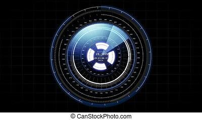 Beautiful Futuristic HUD Target Scanner with Radar Rotation. Head-up Display Computer Data. High Tech Concept Element.