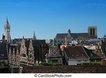 Gent - Beautiful gabled houses along a canal in Gent,...