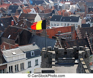 Gent - Beautiful gabled houses with a national flag. Gent,...