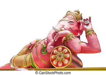 Beautiful Ganesh statue isolated on white background, Is highly respected by the people of Asia. clipping path