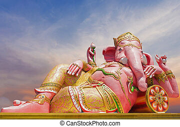 Beautiful Ganesh statue on blue sky at wat saman temple in Prachinburi province of thailand, Is highly respected by the people of Asia