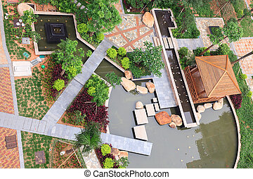 Beautiful garden in a Chinese new residential district