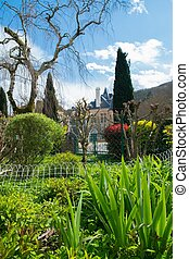 Beautiful garden in old Ambialet village, France