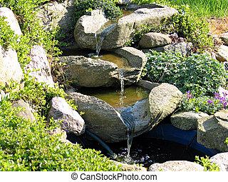 Beautiful garden waterfal
