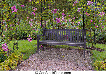 Beautiful garden with a bench surrounded by pink roses