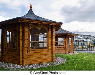 Beautiful  garden wood glass classical pavilion