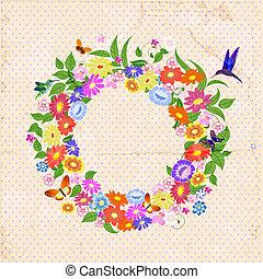 Beautiful garland of flowers retro