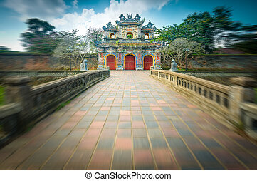 Beautiful gate to Citadel of Hue in Vietnam, Asia. - Facade...