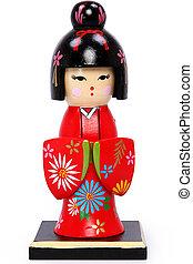Beautiful Geisha Girl Holiday Nutcracker Over White