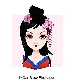 Beautiful geisha in blue and red kimono illustration