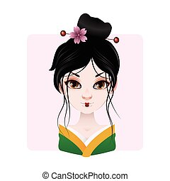 Beautiful geisha in green and yellow kimono illustration