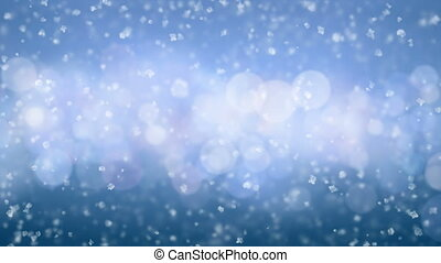 Beautiful Gentle Christmas Snow Falling on Blue Circles Background with Slow Breeze Seamless. Slow Motion Looped 3d Animation. Holidays Celebration Concept. 4k Ultra HD 3840x2160.