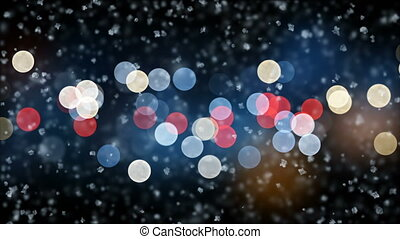 Beautiful Gentle Christmas Snow Falling on Night Lights Blinking Background with Slow Breeze Seamless. Slow Motion Looped 3d Animation. Holidays Celebration Concept. 4k Ultra HD 3840x2160