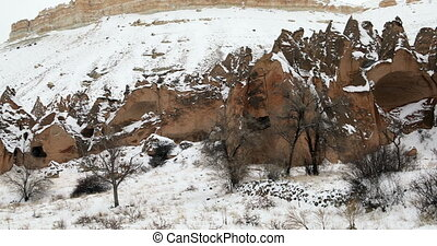 Beautiful geological formations in Cappadocia at winter
