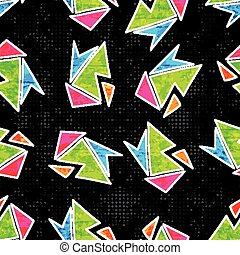Beautiful geometric polygons seamless pattern on a black background vector illustration