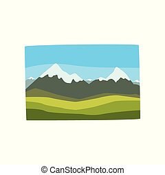 Beautiful Georgian landscape with snowy mountain peaks, green hills and blue sky. Cartoon nature scene. Travel to Georgia. Flat vector icon