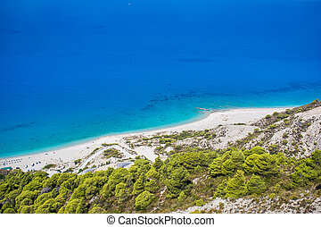 Beautiful Gialos beach on Lefkada island in Greece