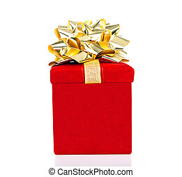 Red Gift Box With Golden Bow for All Occasions Isolated on White