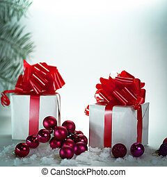 gift box .isolated on Christmas background