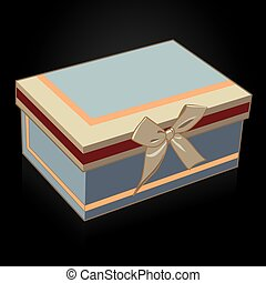 Beautiful gift box with a bow on a black background