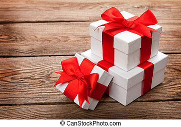 Beautiful gift box with a red bow