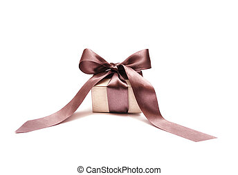 Beautiful gift box with bow on a white background