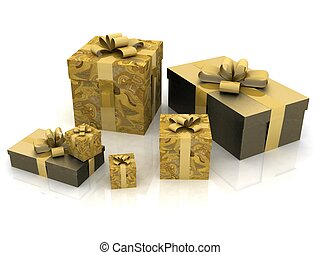 beautiful gift boxes on a white background