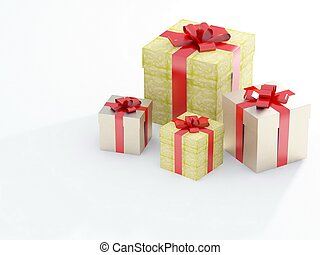 beautiful gift boxes on a white