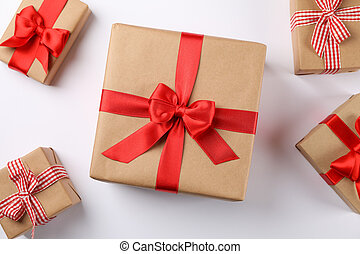 Beautiful gift boxes on white background, top view