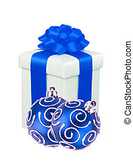 beautiful gift with blue ribbon and christmas balls isolated on white