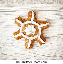 Beautiful gingerbread star, Christmas symbol
