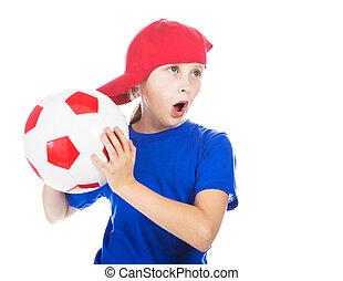 Beautiful gir with a ball. - Beautiful girl in a sports cap ...