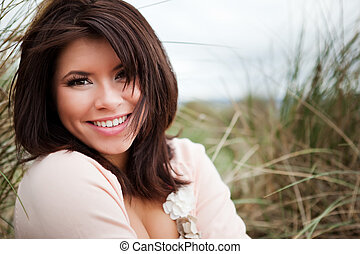 Beautiful girl - A portrait of a happy beautiful mixed race...