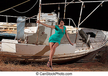 beautiful girl and a boat