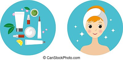 beautiful girl and set of isolated cosmetic products