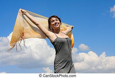 beautiful girl and sky