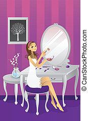 Beautiful girl applying makeup - A vector illustration of a ...
