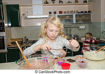 beautiful girl baking