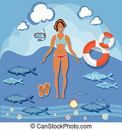 Beautiful girl beach smile woman summer vacation sea tropics slim fashion bikini swimsuit diving lifebuoy swimming sunbathing vector illustration