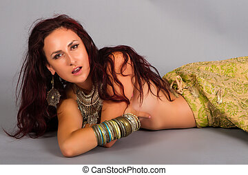 Beautiful girl belly dance movement