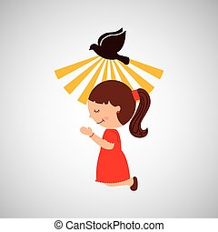 beautiful girl blessed and holy spirit vector illustration...
