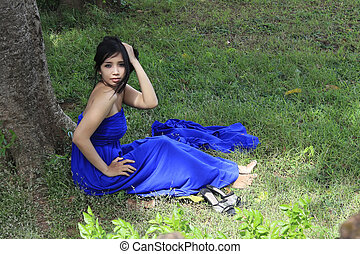 beautiful girl blue dress