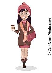 Beautiful girl, cartoon character.
