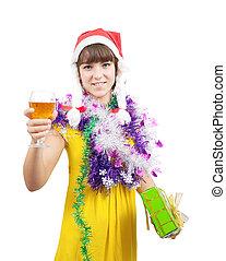 beautiful girl celebrating New Year