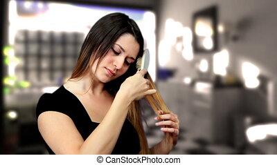 Beautiful girl comb hair shower bathroom