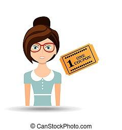 beautiful girl concept cinema movie ticket icon