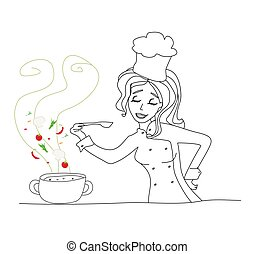 beautiful girl cooking soup,  doodle illustration