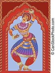 Beautiful girl dancing Indian classical dance