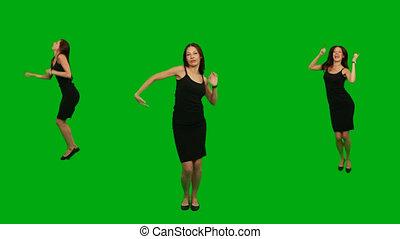 Beautiful girl dancing.Green Screen